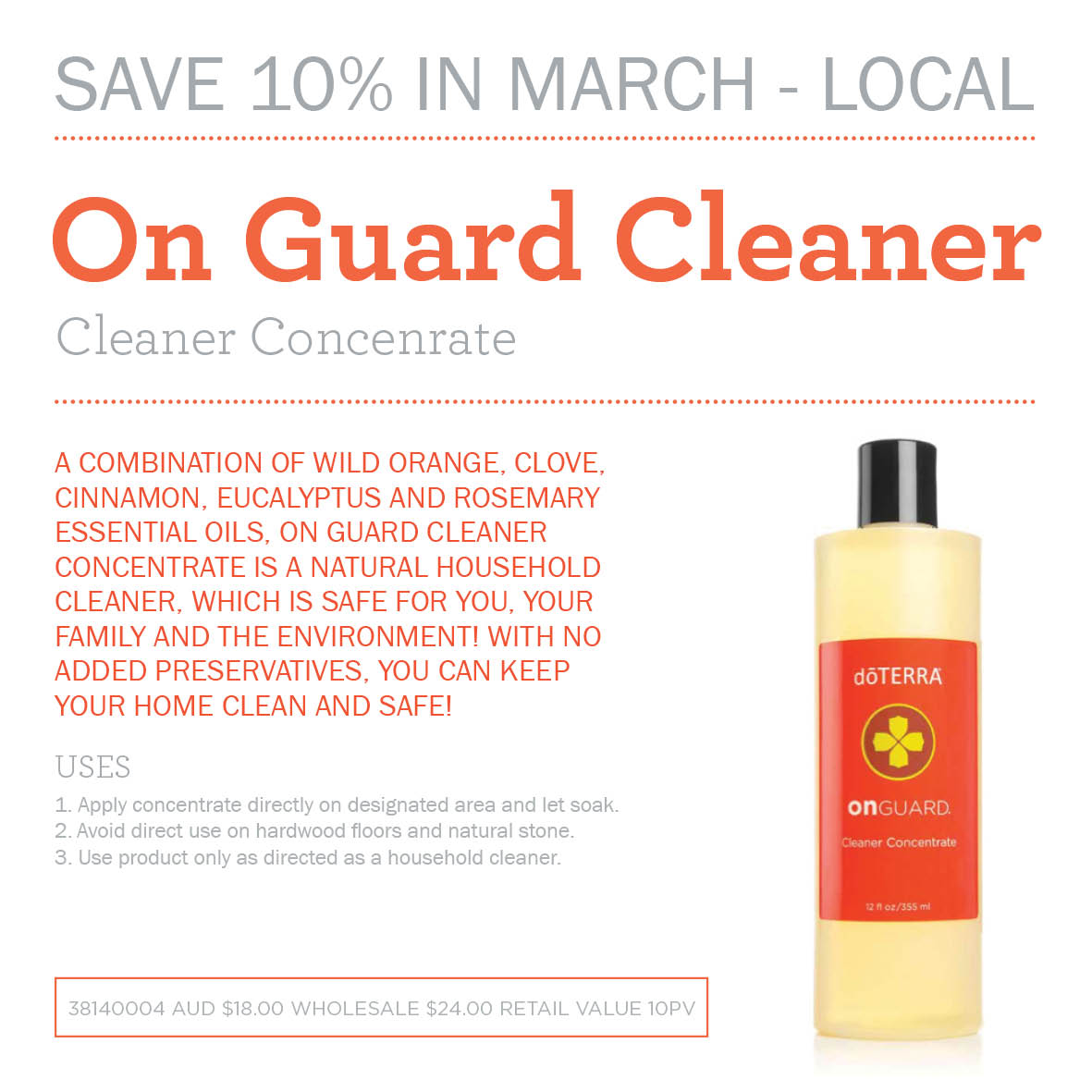 10% off On Guard Cleaner Concentrate during March